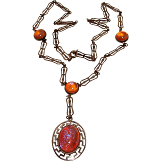Dragon's Breath Necklace Mexican Jelly Opal Sterling Silver