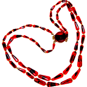 1950s Double Strand Red Black Art Glass Necklace