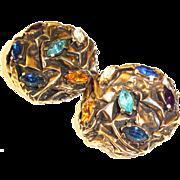 Big Schiaparelli Earrings Rhinestones in Textured Metal