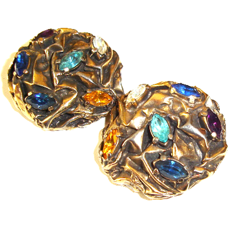 Elsa Schiaparelli Earrings Rhinestones Textured Metal Rhinestones
