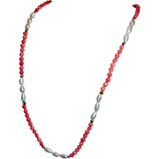Coral Necklace 14K Clasp