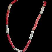 Estate Salmon Coral Necklace 14K Clasp