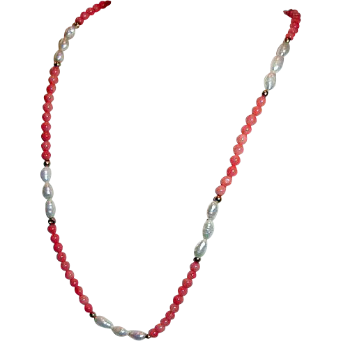 Salmon Coral and Freshwater Pearl Necklace 14K Clasp