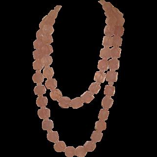 Rose Quartz Rope Necklace 32 Inches Long
