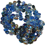 1950s Beaded Blue Bracelet Five Strands Fancy Clasp