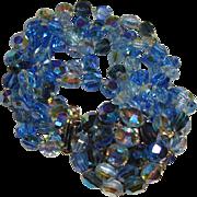 Vintage Beaded Bracelet Five Strands of Blue