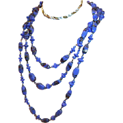 1920s Flapper Necklace Blue Venetian Glass