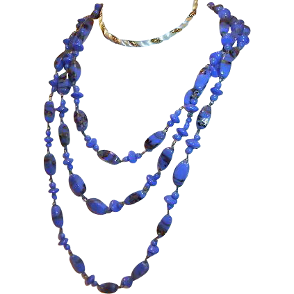 1920s Flapper Necklace Blue Venetian Glass 46 inches long