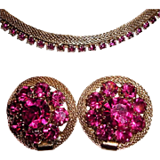 Signed Weiss Mesh Fuschia Pink Rhinestone Set