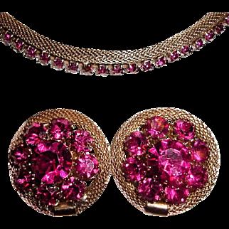 Weiss Mesh Fuschia Pink Rhinestone Set Valentine