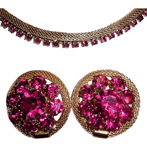 Weiss Mesh Fuschia Pink Rhinestone Necklace Earrings Set