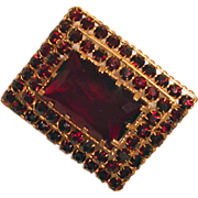 Art Deco Garnet Glass Brooch Czechoslovakia
