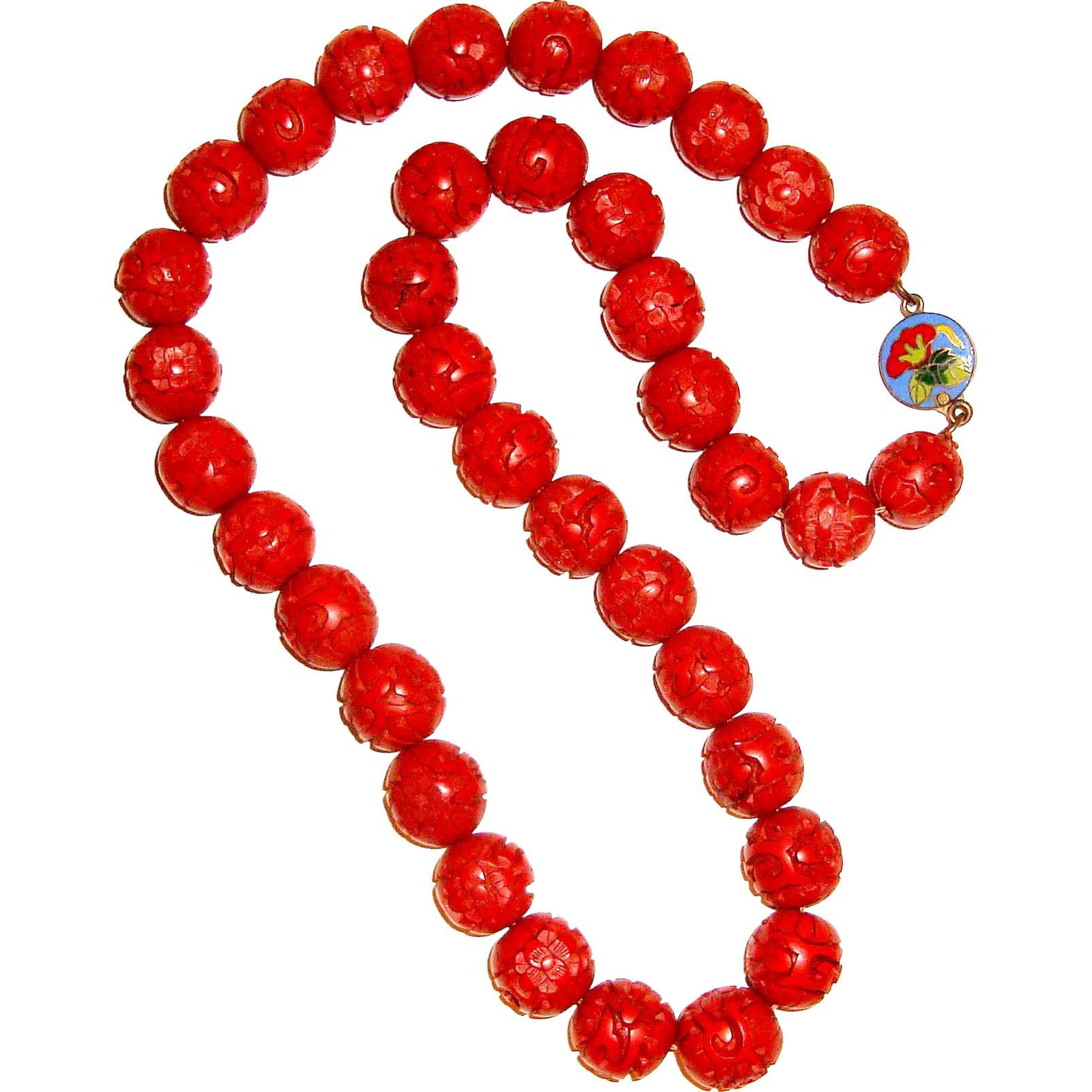 Old Chinese Import Genuine Cinnabar Beaded Necklace