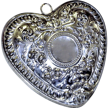 Gorham Sterling Heart Ornament Christmas Retired Romantic Design