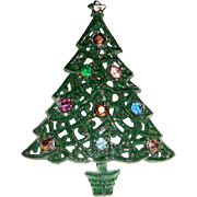 Christmas Tree Brooch Green Enamel Rhinestones