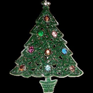 Christmas Tree Brooch Green Enamel Rhinestones