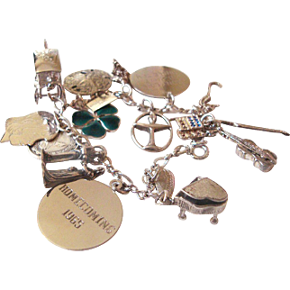 Sterling Silver Charm Bracelet 30 grams, Sterling Charms Enamel Clover, Wedding, Music Instruments, Mechanical Charms Nautical