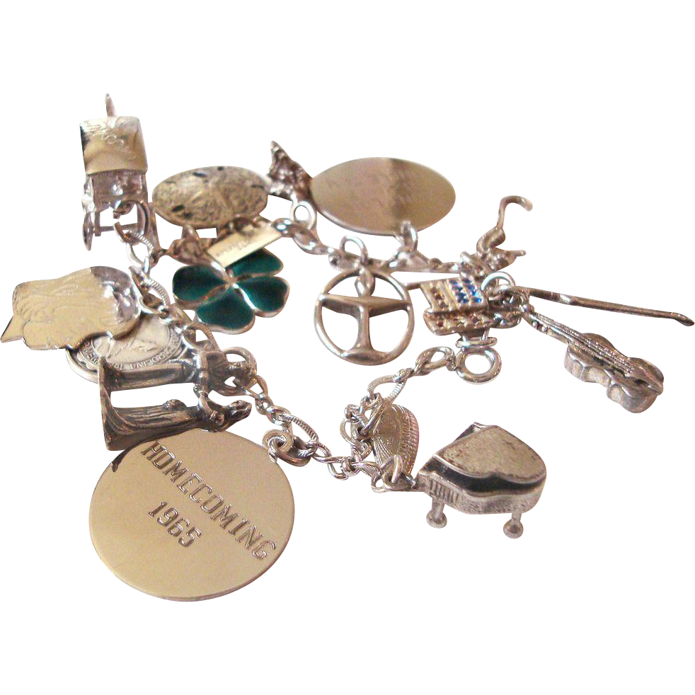 Sterling Silver Charm Bracelet Sterling Charms 30 grams Enamel Clover Wedding Musical Instruments Mechanical Charms Nautical