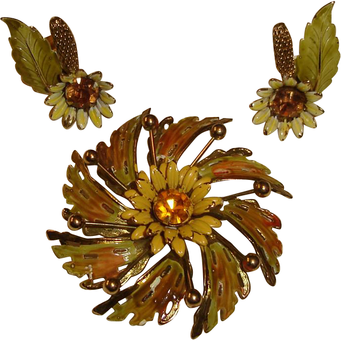 Hobe Enamel Brooch Earrings Fall Design Autumn Colors