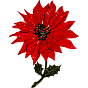 Huge Poinsettia Brooch Red Green Enamel Christmas Pin Holiday Jewelry