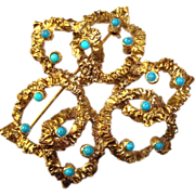 Modernist Abstract Ribbon Brooch Blue Stones Vintage Designer