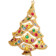 Tall Christmas Tree Brooch Sparkling Holiday Pin