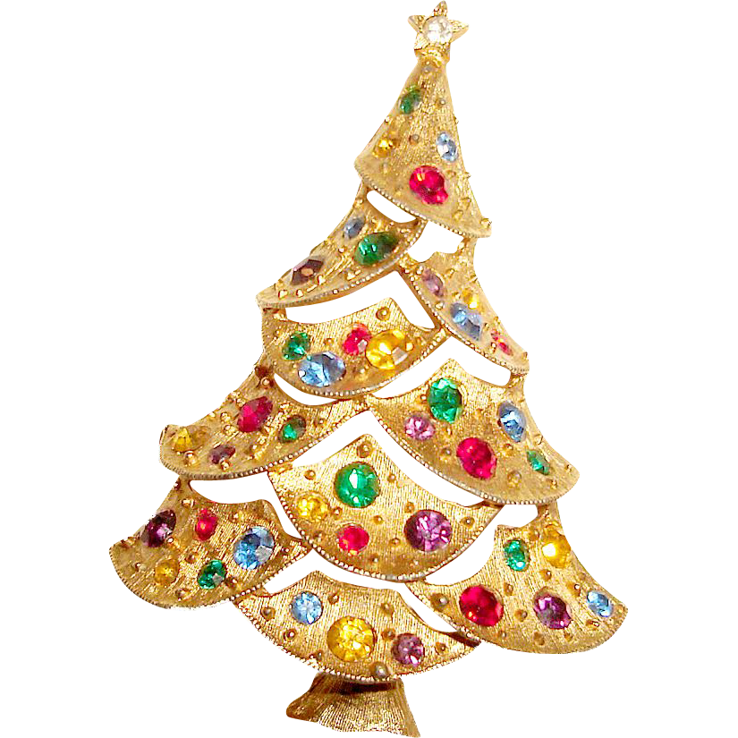 Tall Jeweled Christmas Tree Brooch Sparkling Holiday Pin
