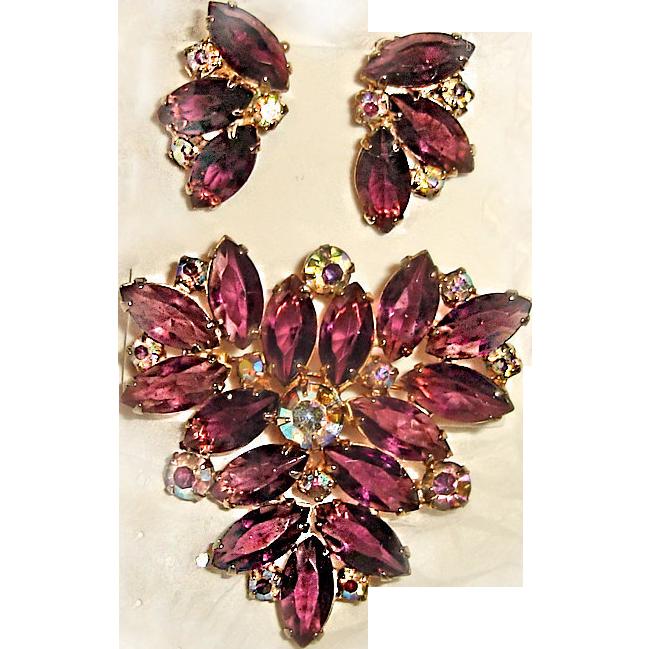 Juliana Brooch Earrings Set Amethyst Purple Triangle