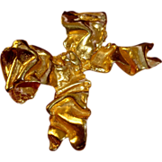 Kenneth Lane Brooch Stylized Bow 1970s KJL