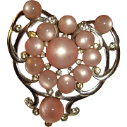Art Deco Dress Clip Pink Moonglow Lucite Heart