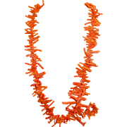Natural Branch Coral Necklace 36 Inches Long Red Orange