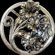 Sterling Brooch Figural Flowers Art Nouveau Style 925 Silver