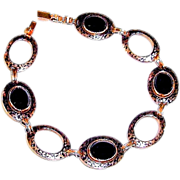 Art Deco Bracelet Black Onyx Enamel Links 12K Gold Filled