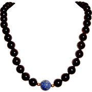 Black Onyx Necklace Lapis Beads 30 Inches