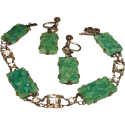 Art Deco Bracelet Earrings Set Peking Glass Rock Crystals