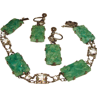 Art Deco Peking Glass Rock Crystal Bracelet Earrings Set