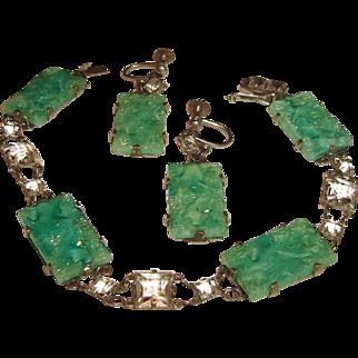 Art Deco Bracelet Earrings Peking Glass and Rock Crystals