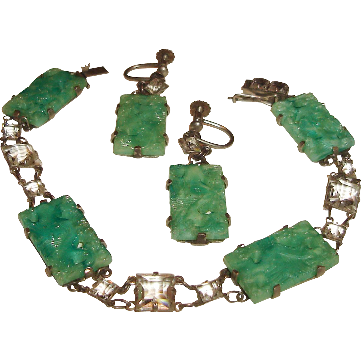 Art Deco Peking Glass Rock Crystal Bracelet Earrings