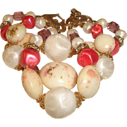 Chunky Bracelet Pink Purple Speckled Beads Signed Deauville