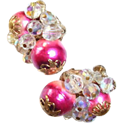 Vendome Cluster Earrings Pink Foil Crystals