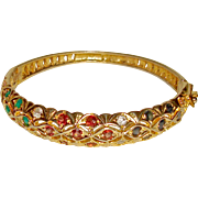 Estate Bangle Bracelet Natural Gemstones Sapphires Rubies Emeralds Red Blue Green