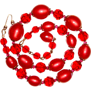 1950s Fancy Cardinal Red Moonglow Necklace Marvella