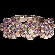 Vintage Bow Bracelet Aurora Borealis Rhinestones