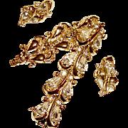 Coro Bracelet Earrings Pear Shaped Rhinestones