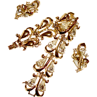 Wide Bracelet Earrings Pear Shaped Rhinestones Vintage Wedding Jewelry