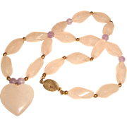 Estate Rose Quartz Necklace Amethyst Spacers Heart Drop Center