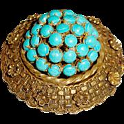 Rare Sandor Brooch Robin Eggs Nest Figural