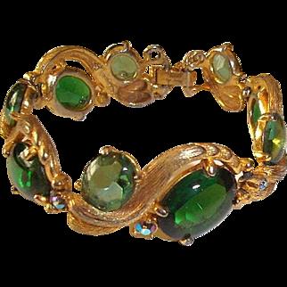 Genuine Signed Elsa Schiaparelli Bracelet Green Stones Serpentine