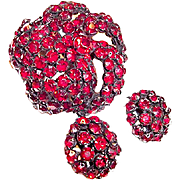 Warner Brooch and Earrings Red Rhinestones Japanned Metal