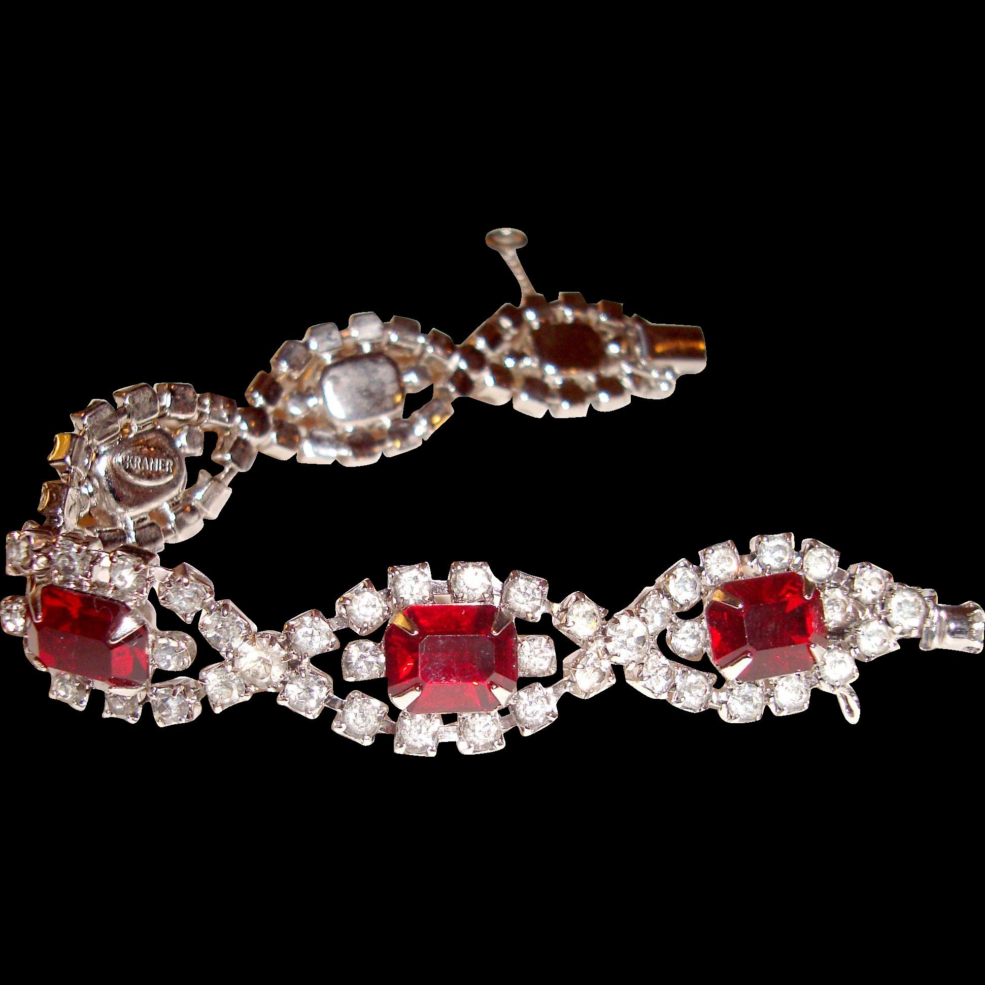 Kramer NY Red Rhinestone Bracelet Dazzling